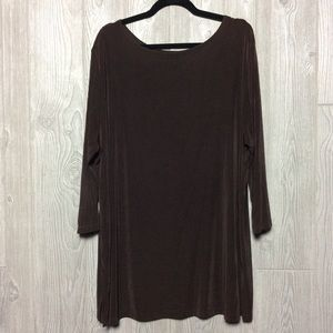 Brown Long Sleeve Top PLUS SIZE 1X